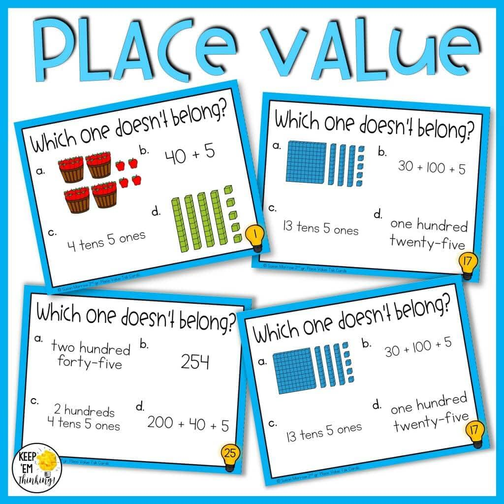 place value which one doesn't belong task cards