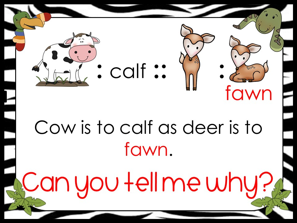 analogy example deer and fawn